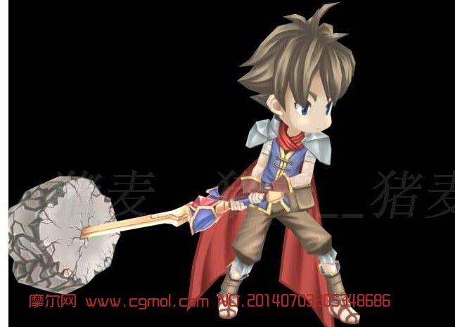 卡通人物StoneKing角色小战士带全套动作