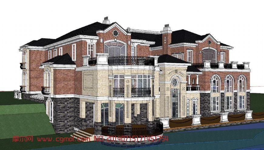 欧式别墅skp模型_国外建筑