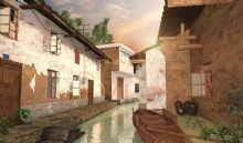 现代古镇水巷3D模型