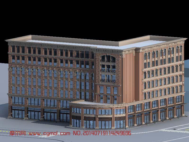 学校教学楼建筑模型_现代场景