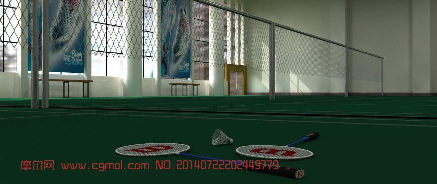 室内羽毛球场3d模型_室内家具