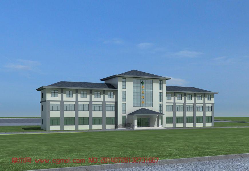 典型中式办公楼3D模型