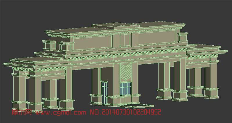 小区入口大门3d模型_其他建筑