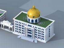 欧式办公楼 穹顶建筑3D模型