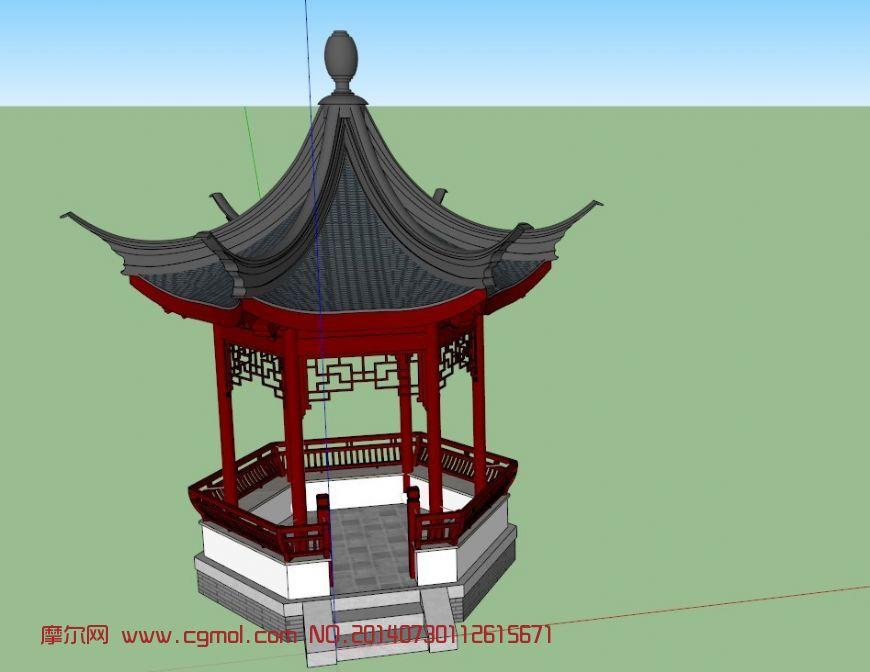 氏六角亭3d模型_中式建筑