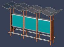 侯车亭,站台3D模型