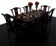 中式餐桌3D模型