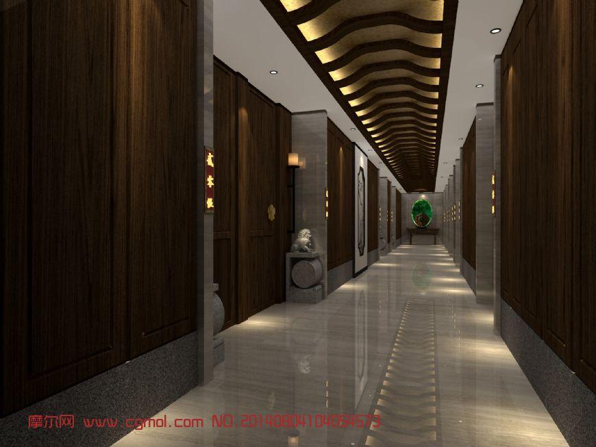 洗浴中心走廊3D模型