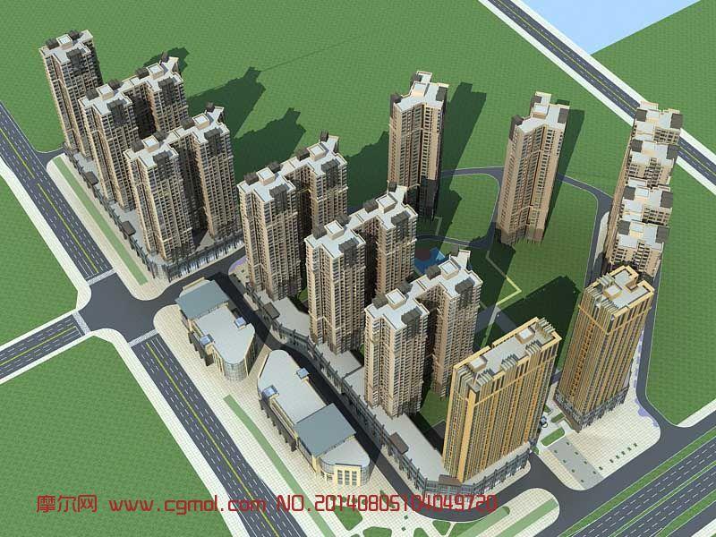 小区建设鸟瞰,公建3D模型