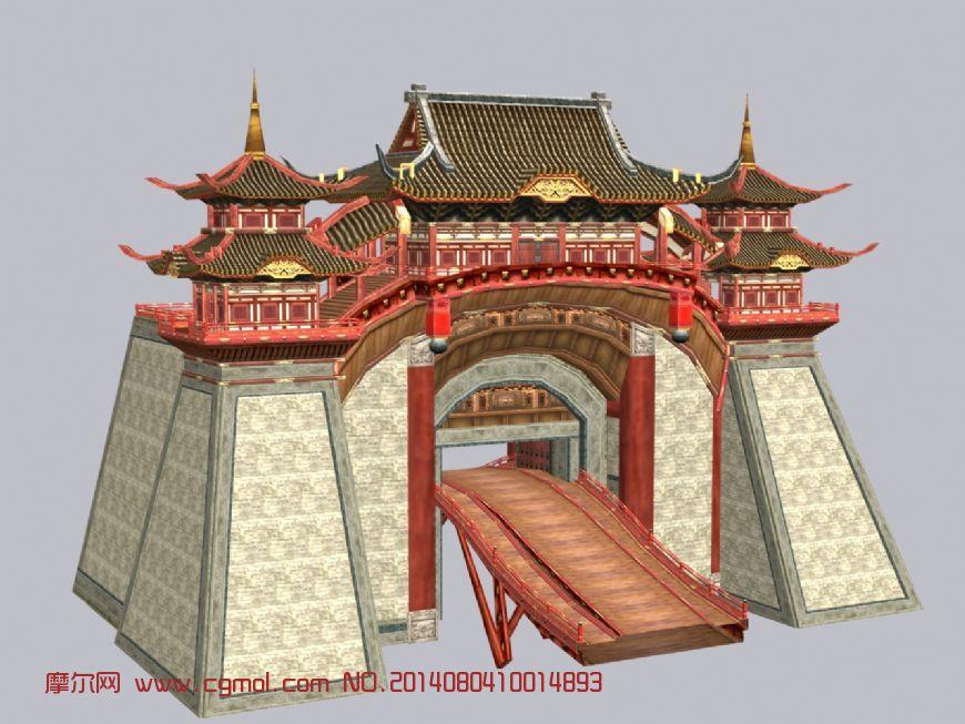 扬州城门,中式建筑城楼3d模型图片