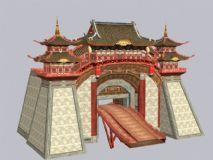 扬州城门,中式建筑城楼3D模型