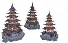 塔,宝塔3D模型