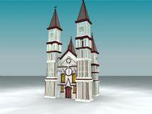 双塔教堂3D模型