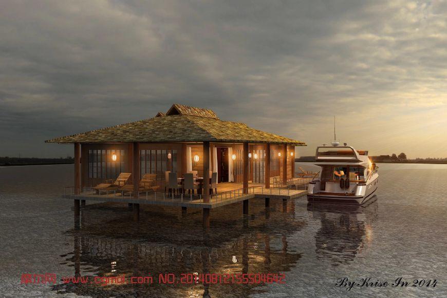 水上休闲馆,休闲会所3D模型