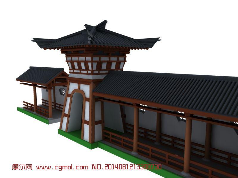 建筑模型 中式建筑 关键词:古建房屋烽火台花窗廊走廊古代建筑 作品