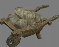 古代手推车,运石车3D模型