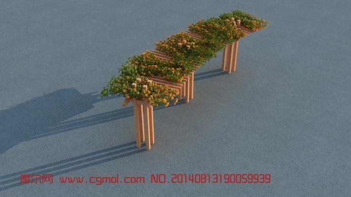 廊道的漂亮花架3D模型