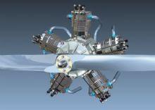 带气缸和螺旋桨的飞机发动机模型