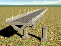 高架桥梁及标准桥墩3d模型 高架桥