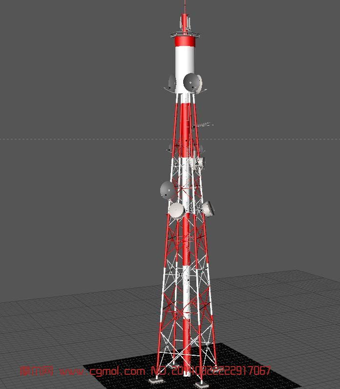 基地信号塔,无线信号发射塔3D模型