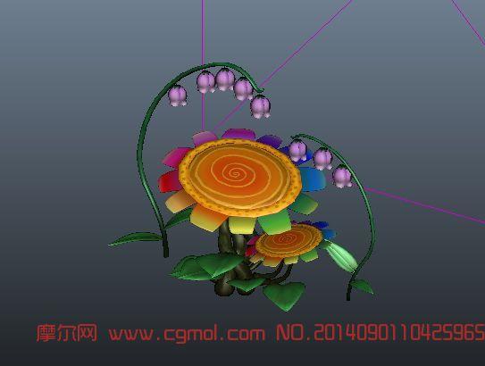 萌花,别致的花3D模型