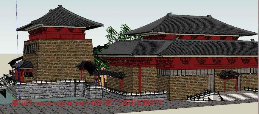 小花门,唐代庭院建筑大门,垂花门等模型