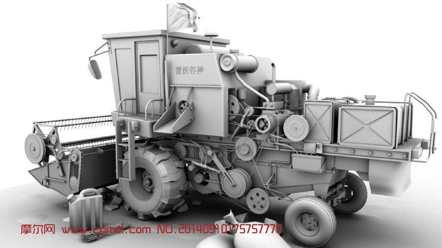 稻谷收割机,农用机车3D模型