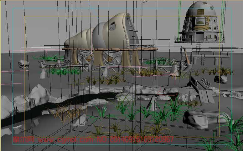 Q版丛林小屋3D场景模型
