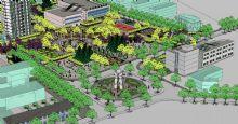 小区,公园景观设计鸟瞰模型