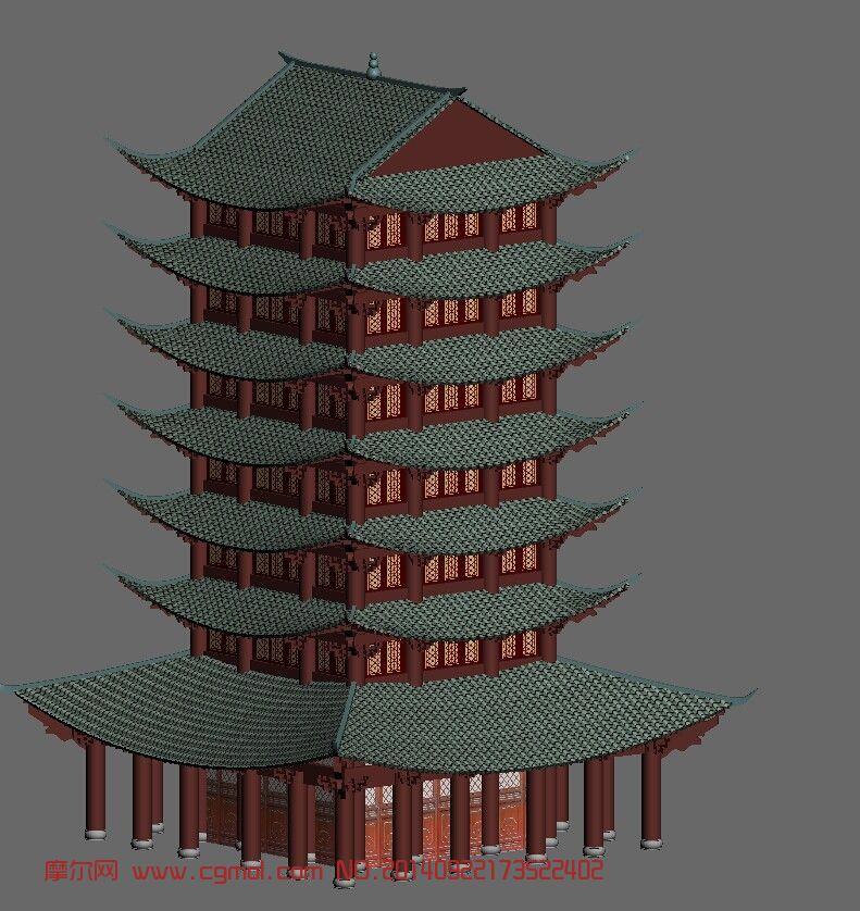 原创作品: 梓州阁,古代塔建筑