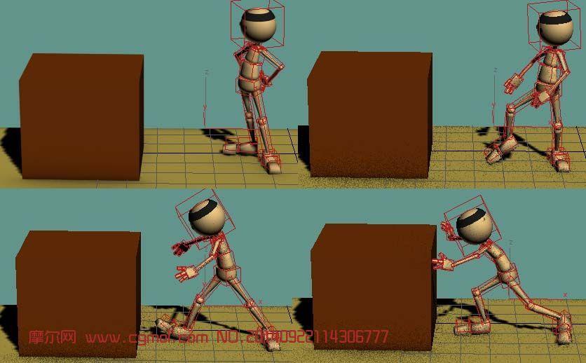 原创作品: 练习动画用的小人带骨骼
