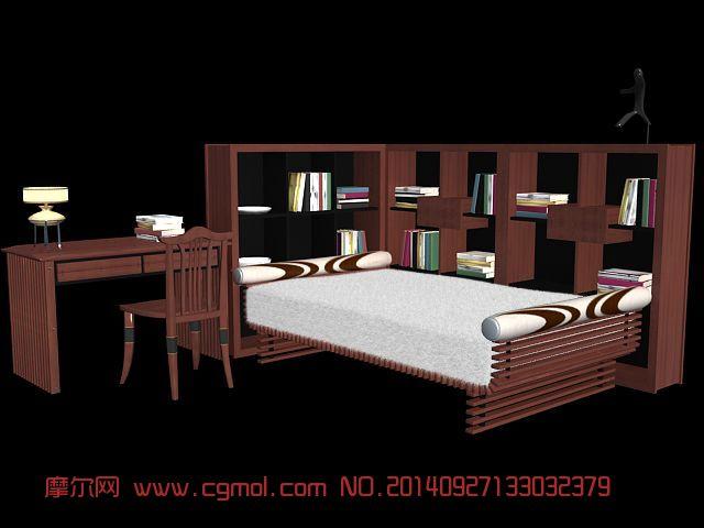 儿童床套装_室内家具_室内模型