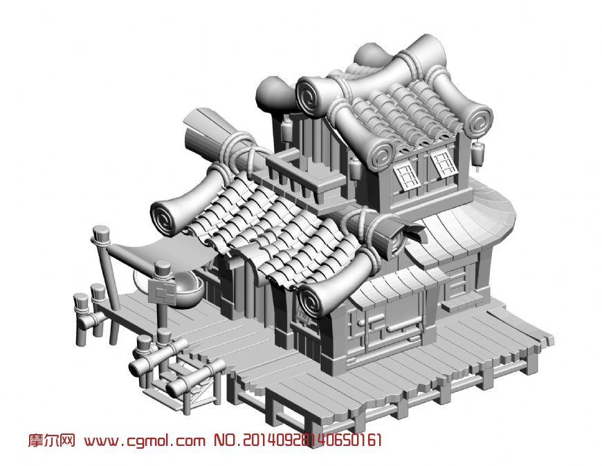 竹子建的房子_古代场景_场景模型_3d模型免费下载
