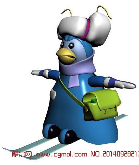 原创作品: 滑雪的卡通小鸡