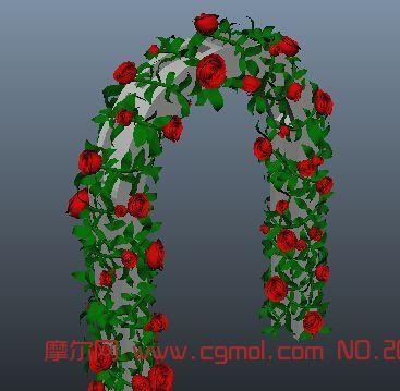 玫瑰拱门maya模型_现代场景