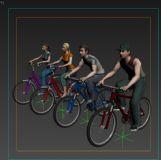 一组骑自行车人物,带动画及贴图