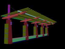 公园花架,廊架模型