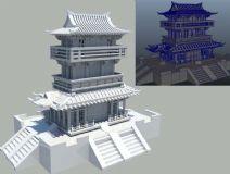 古代建筑三层 塔楼 楼阁