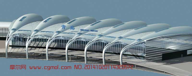 青岛机场航站楼鸟瞰_其他建筑