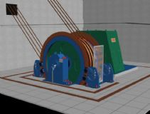 矿井用的绞车3D模型