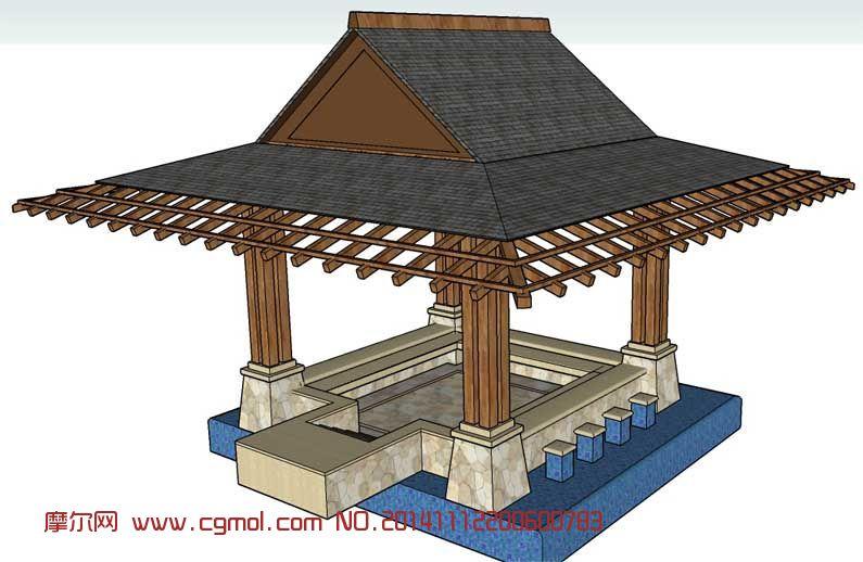 中式亭子_中式建筑_建筑模型_3d模型免费下载_摩尔网.