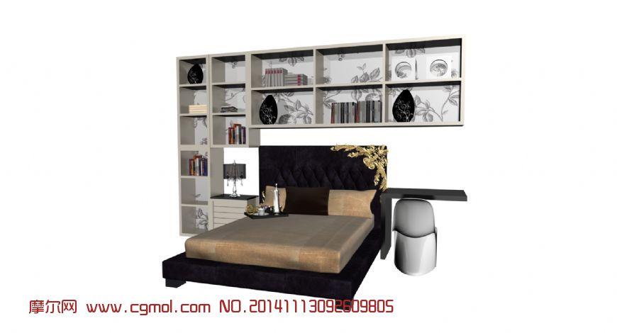 卧室床头立体书柜_室内家具