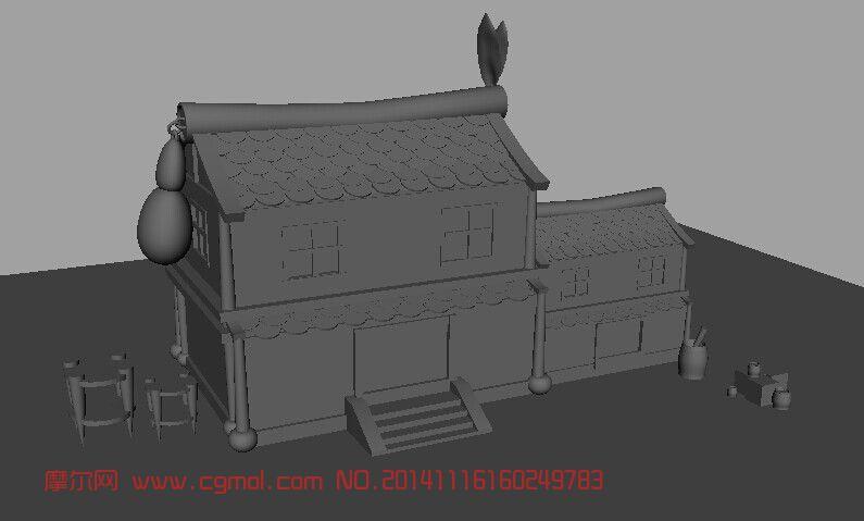 古代房子_中式建筑_建筑模型