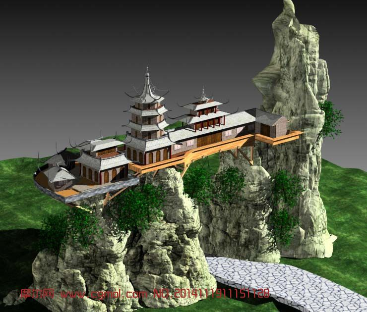 山间古代楼阁场景建筑Max模型