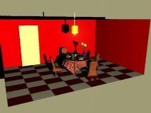 室内桌椅玫瑰场景
