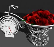 艺术钟表和玫瑰花车