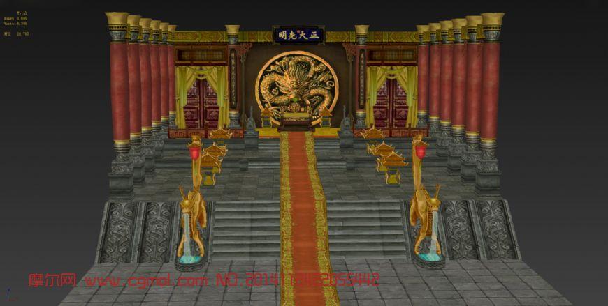 游戏皇宫大殿室内模型图片