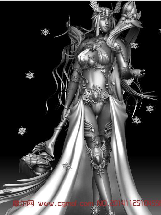 唯美少女魔法师_科幻角色_游戏角色_3d模型免费下载_.
