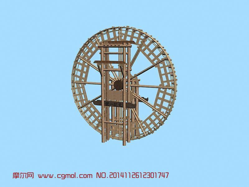 古代水车_自然场景_场景模型_3D模型免费下载
