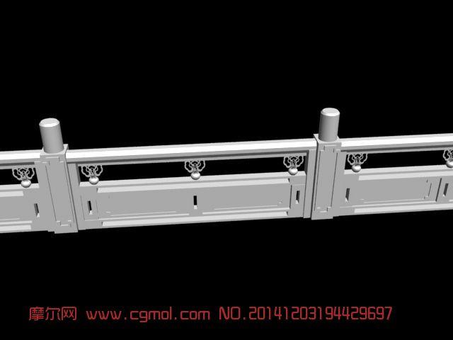 白玉雕栏 白玉栏杆3D模型 围栏 栅栏